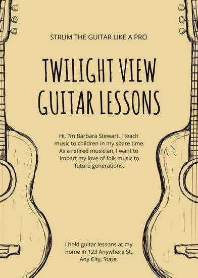 Music Flyer Templates Canva Guitar Lesson Flyer Template