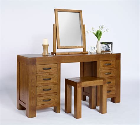 Oak Vanity Table With Drawers Valencia Rustic Oak 8 Drawer Desk Dressing Table Hshire Furniture