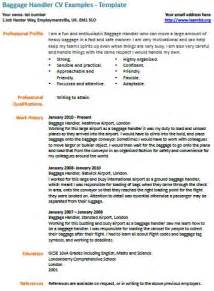 Baggage Handler Sle Resume by Baggage Handler Cv Exle Learnist Org