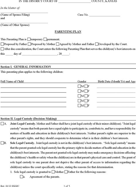 100 parenting agreement worksheet goal setting