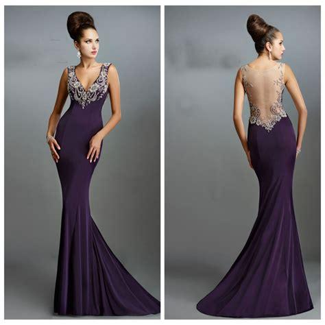 desain long dress elegan elegant v neck beading purple satin long evening dresses