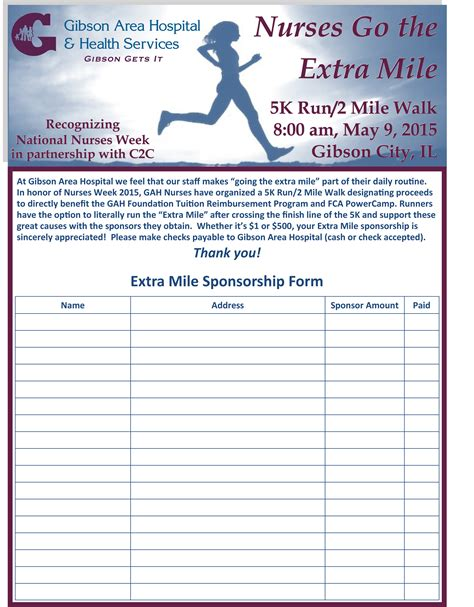 sponsored run form template gibson area hospital news updates