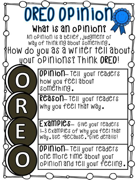 Opinion Essay Topics For Grade 9 by Best 25 Oreo Anchor Chart Ideas On Persuasive Writing Writing Anchor Charts And