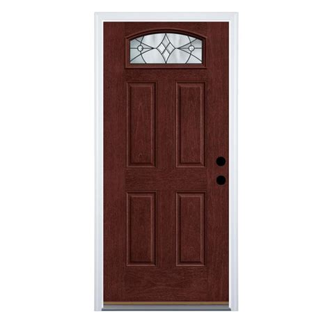 therma tru benchmark doors delano  lite decorative glass left hand inswing mahogany stained