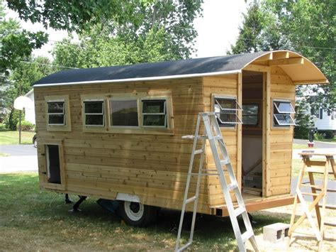 can i buy a house with 10000 down payment this cedar cabin on wheels has an adorable flannel interior