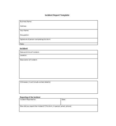 Incident Report Template by 60 Incident Report Template Employee Generic