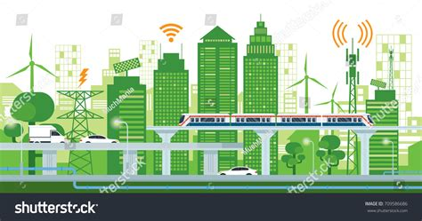 green infrastructure plan fuels smarter cityscape infrastructure transportation smart city connected stock vector 709586686