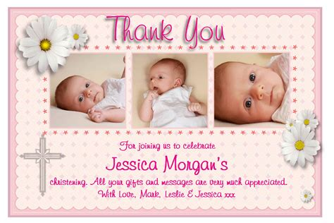 christening thank you cards template personalised christening thank you cards personalised