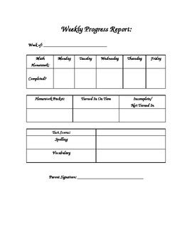 weekly progress report template for teachers weekly elementary student progress report by teaching 4th