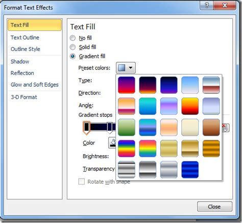 How To Apply Fill Colors Patterns And Gradients To Cells | word 2010 change font color with gradient fill