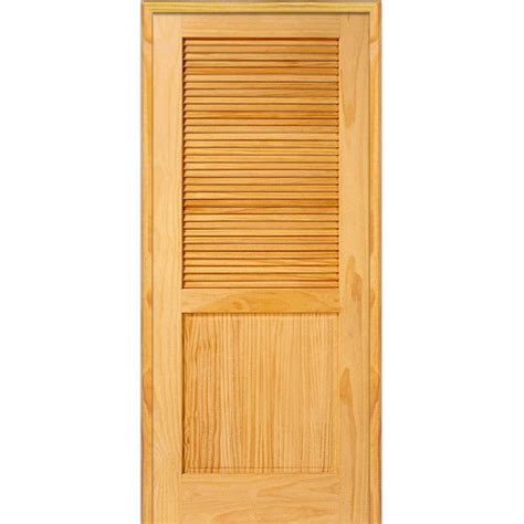 Mmi Door 37 5 In X 81 75 In Unfinished Pine Half Louver Louvered Closet Door