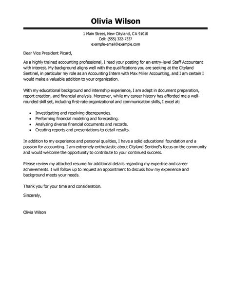 Cover Letter Accounting Leading Professional Staff Accountant Cover Letter Exles Resources Myperfectcoverletter