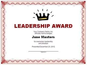 Template For Award Certificates Leadership Certificate Template Free Layout Amp Format