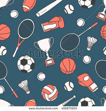 sports seamless pattern of sports equipment hand drawn stock images royalty free images vectors shutterstock