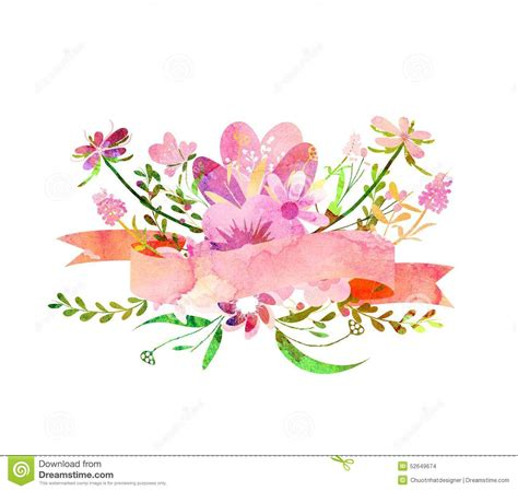 Pink Peonies Nursery by Watercolor Flowers Cute Floral Bouquet Stock Illustration