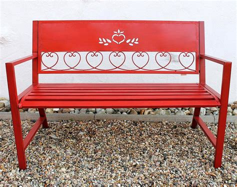 metal garden bench ebay bench passion garden bench red 121495 seat 120cm metal