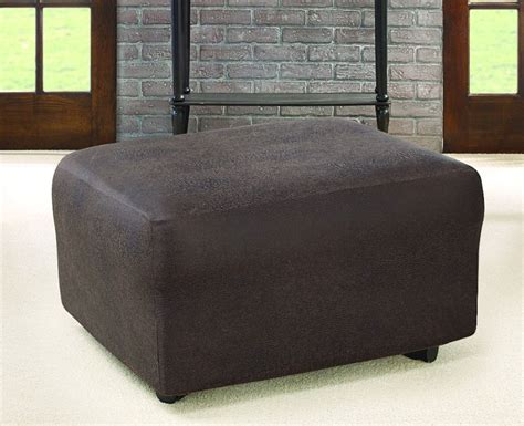leather ottoman cover ultimate stretch faux leather ottoman cover