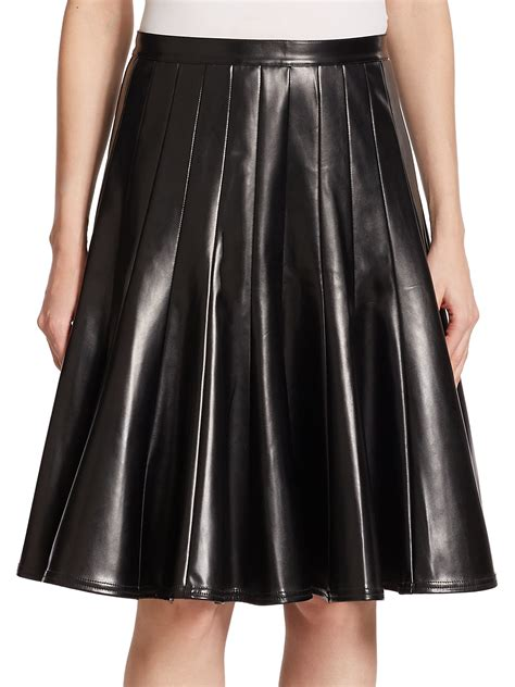 marc by marc edie pleated faux leather skirt in