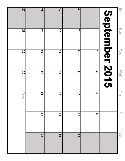 Printable Calendar 2015 September 2015 Calendar Printable Template 8 Templates