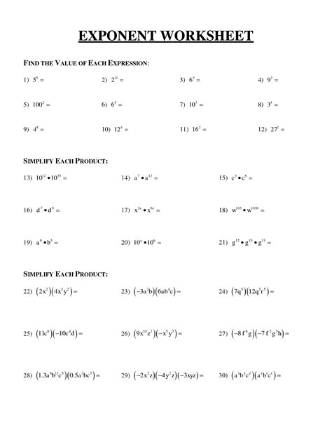printable math worksheets on exponents exponents 6th grade math worksheets 6th grade u s khan