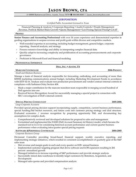 senior accountant resume format accountant