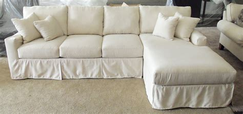Slipcover Sofa Sectional Furniture Sectional Sofa With Light Blue Cotton Slip Cover Mixed Rectangular Ottoman Coffee