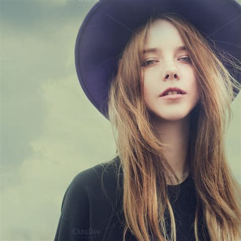 young girls beautiful young girl in the hat beauty fashion photos
