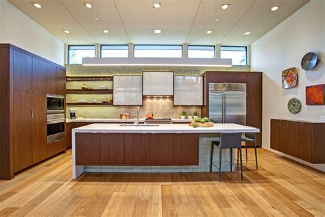 natural oak flooring kitchen contemporary with clerestory