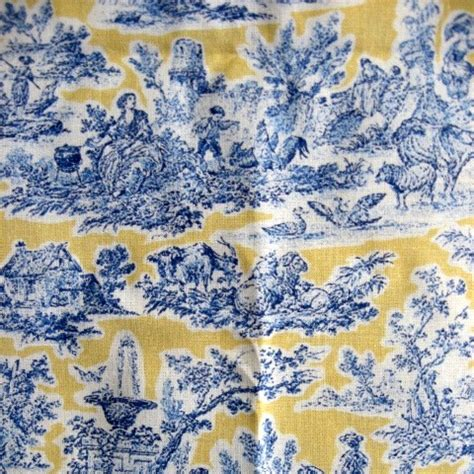blue and yellow upholstery fabric blue and yellow toile fabric 2 yards