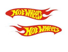 2 Hot Wheels Decals Car Sticker Red Yellow and White Vinyl