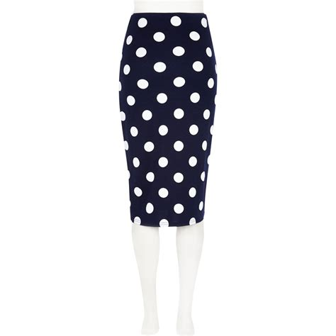 river island navy polka dot high waisted skirt in blue