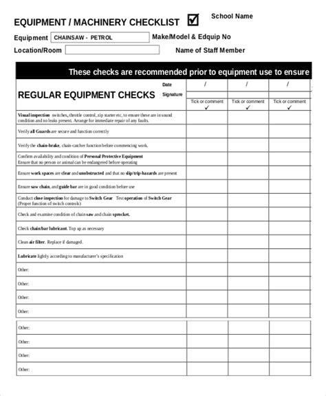 equipment checklist quick overview equipment safety