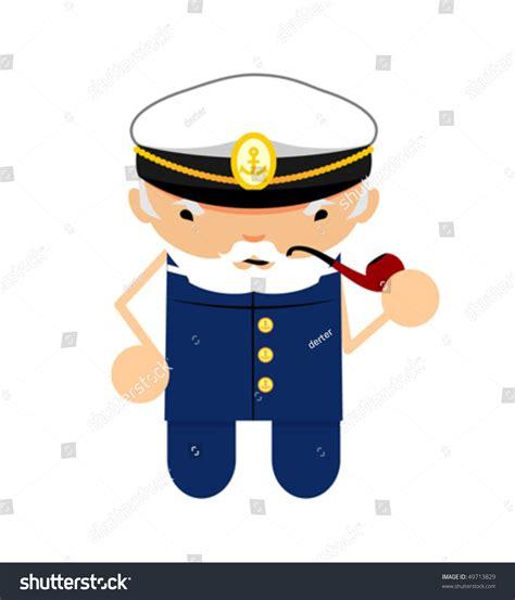 boatswain funny funny character boatswain with smoking pipe stock vector