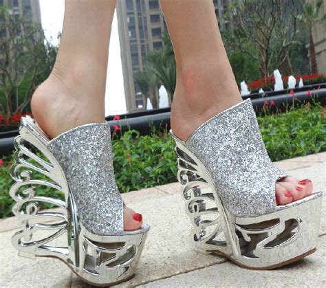 Sparkly Wedges For Wedding by Sparkly Gorgeous Open Toes High Heels Platform Wedding