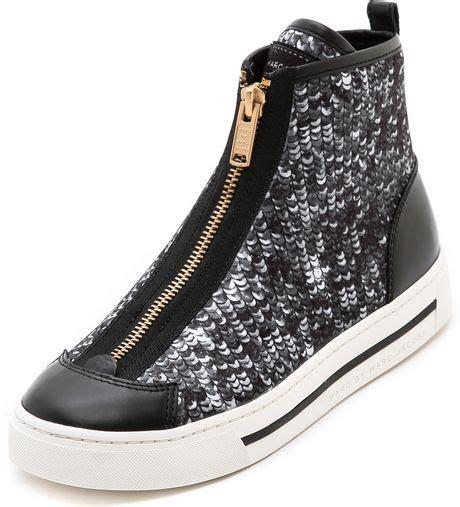 silver sequin sneakers marc by marc sequin zip sneakers in black silver