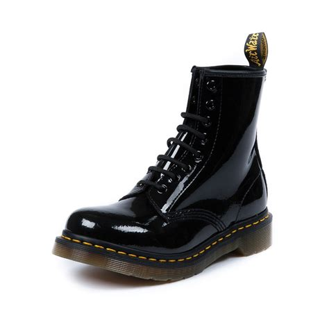 womens dr martens 8 eye boot in black patent shi by
