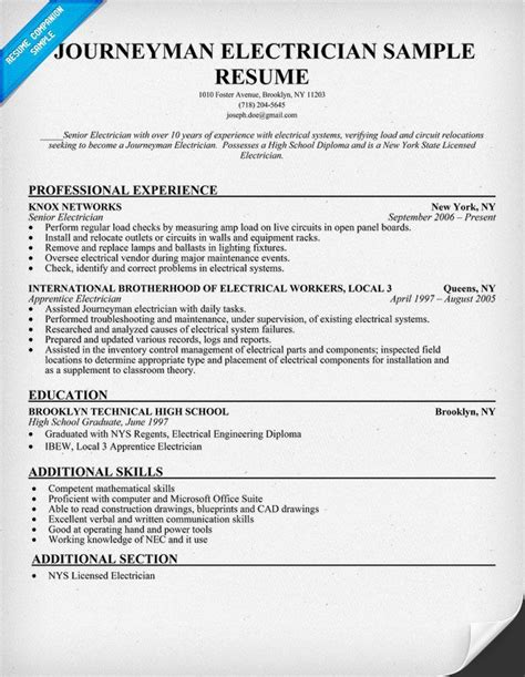 sle journeyman electrician resume journeyman electrician resume sle resumecompanion
