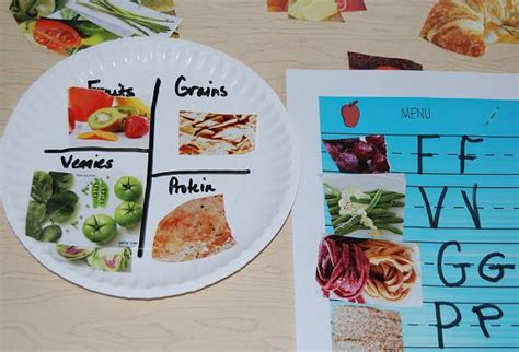 Paper Plate Food Crafts - healthy food habits in preschool sorting and a paper