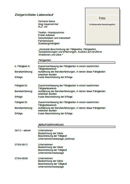 curriculum vitae format 2014 german cv template lebenslauf joblers