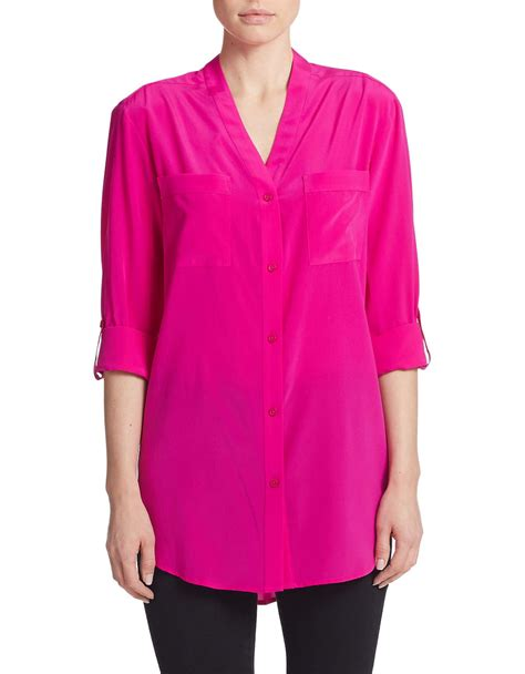 Cd598 Sofie Hi Lo Blouse dkny silk button blouse in pink lyst