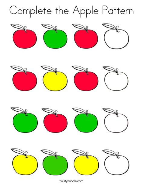 apple pattern for kindergarten complete the apple pattern coloring page twisty noodle