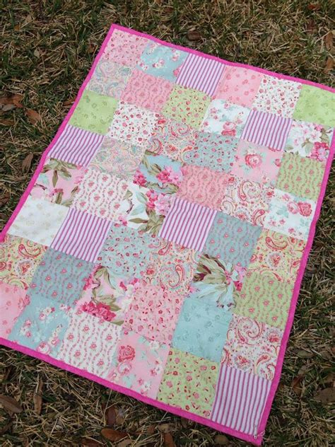 Cottage Patchwork - cottage baby quilt shabby chic patchwork quilt pink