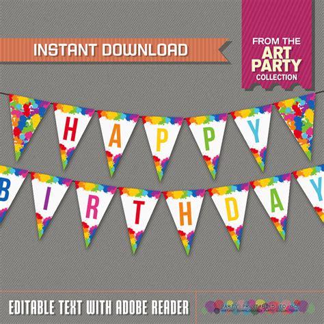 etsy printable birthday banner art party printable birthday banner with spacers editable