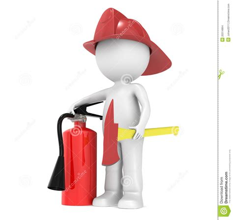 stock illustration of 3d man with safety equipment on 3d little human character the fire fighter stock