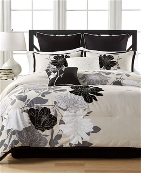 Black Floral Bedding Sets Black Gray Floral 8 Pc Comforter Sets Bed In A Bag Bed Bath Macy S