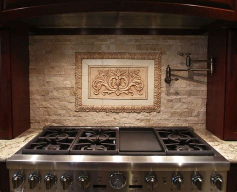 Faux Kitchen Backsplash Medallions For Backsplash Our Floral Tile And Thin Liners In Antique Brown Along With Flat