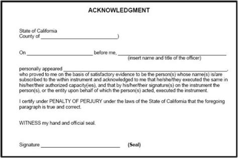 Notary Forms Notary Statement Template