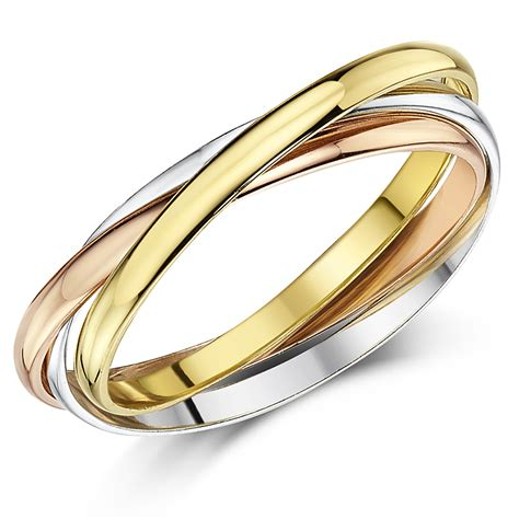 2mm 9ct multi tone 3 colour gold russian wedding ring