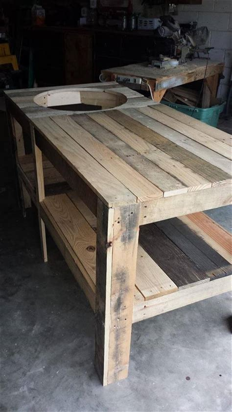 bbq bench pallet wood kamado grill table 101 pallets