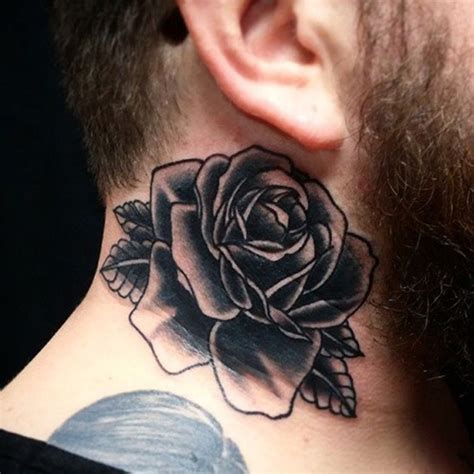 57 realistic roses neck tattoos